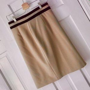 Worthington Lined tan skirt black stripe waist